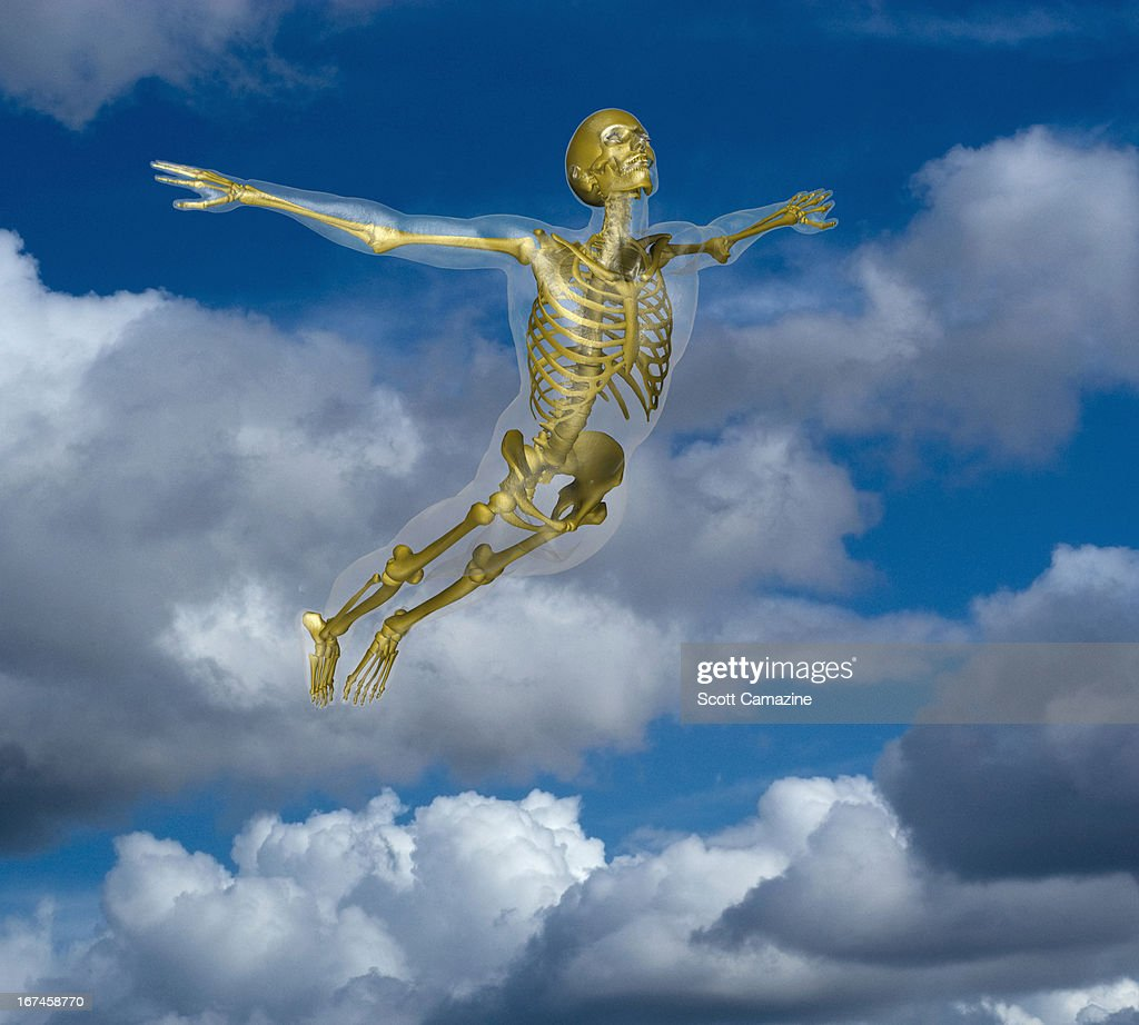 Human skeleton flying amidst clouds : Stock Illustration