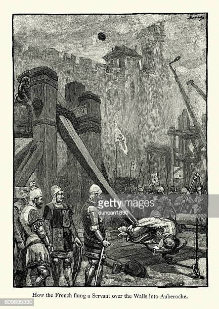 Hundred Years War man thrown by a catapult