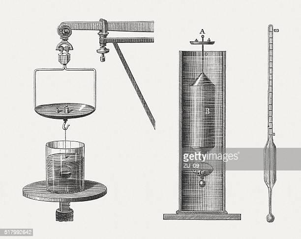Hydrometers, wood engravings, published in 1880