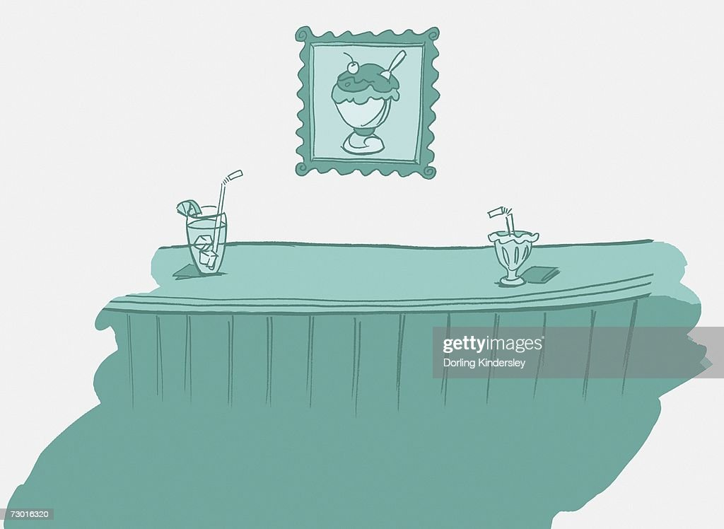 Ice cream bowl and drink on bar counter, framed picture of ice cream on wall behind. : Stock Illustration