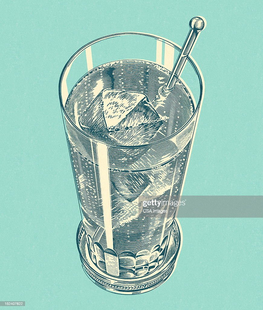 Iced Drink With Stir Stick : Stock Illustration