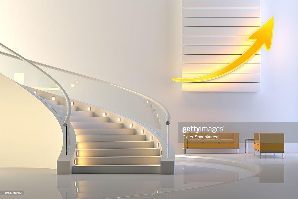 Illuminated upward arrow in a lobby with stair : Stock Illustration