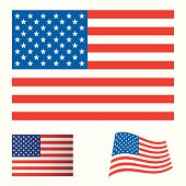 Illustrated collection flag icon set for the united states of america