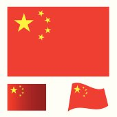 Illustrated collection of flag icon set for china