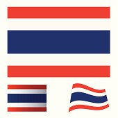 Illustrated collection of flag icon set for thailand