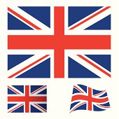 Illustrated collection of flag icon set for the United kingdom