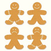 Illustrated gingerbread man with white frosting and smile variation