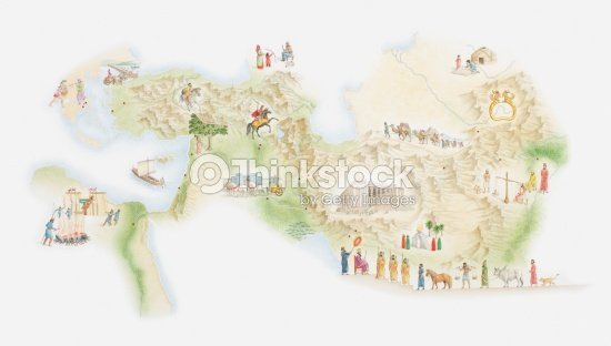 Illustrated Map Of Ancient Persia Stock Illustration | Thinkstock