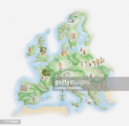 Illustrated map of Bronze Age civilisations across Europe, showing stone circles, settlements, agricultural activity : Ilustración de stock