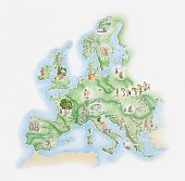 Illustrated map of Bronze Age civilisations across Europe, showing stone circles, settlements, agricultural activity