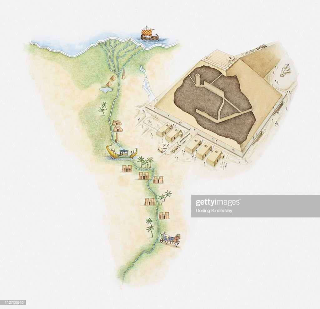 Illustrated Map Of Egypt Showing Position Of Pyramids And Rock - Map of egypt showing nile river