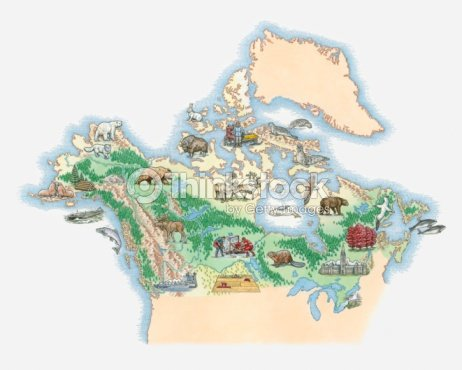 Illustrated Map Of Northern America Including Canada And Alaska ...