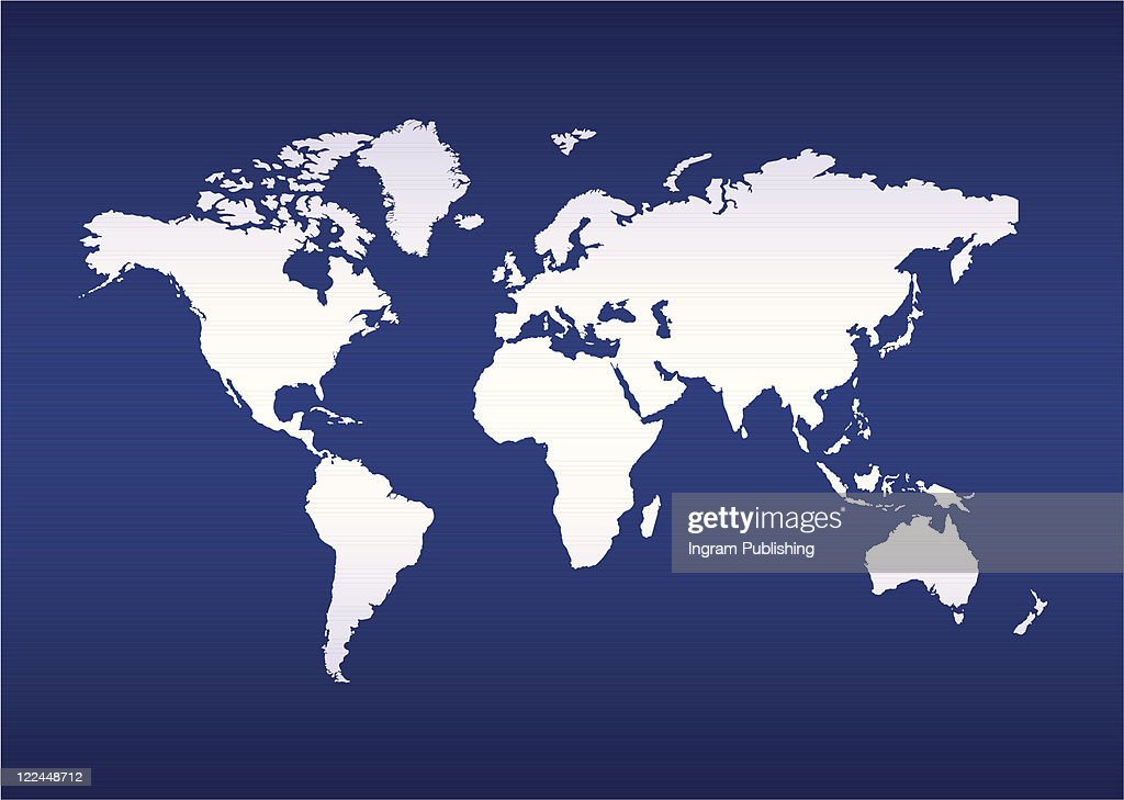 Illustrated World Map Of The Earth With Blue Ocean Background Vector