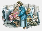Illustration air hostess serving drinks to passengers on commercial aircraft
