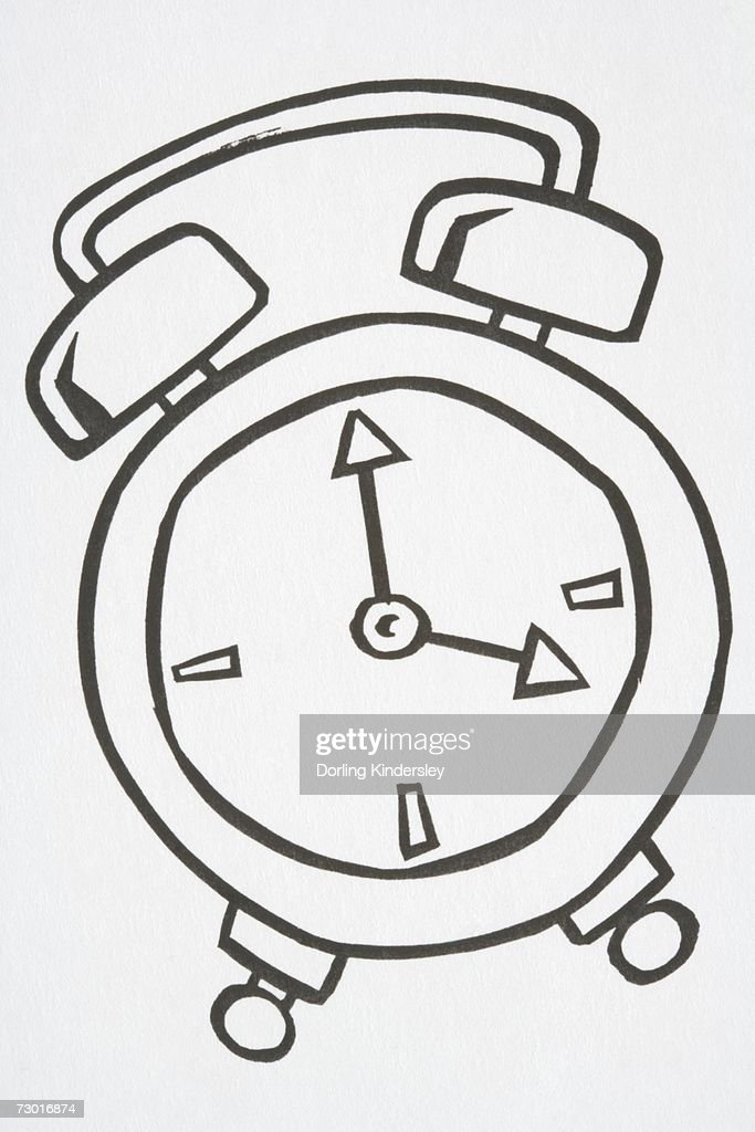 Illustration, alarm clock with handle and two bells on top, hands pointing to four o'clock. : Stock Illustration