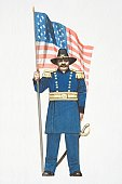 Illustration, American Civil War Union soldier holding stars and stripes flag.