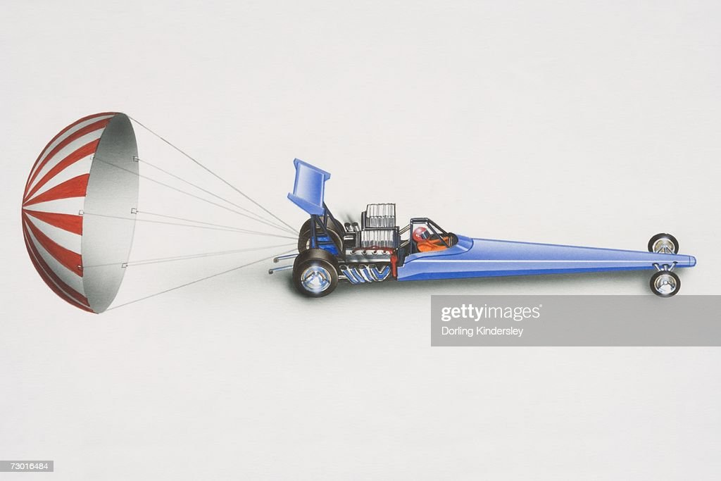 Illustration Blue Drag Racing Car With Released Parachute At The