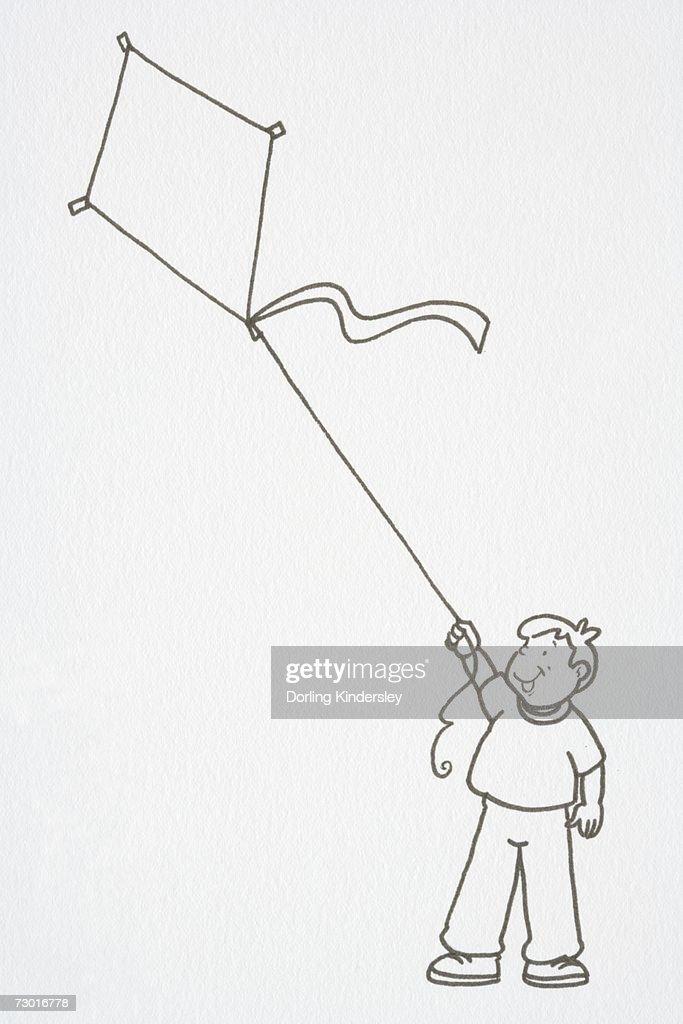 Illustration, boy flying a kite. : Stock Illustration