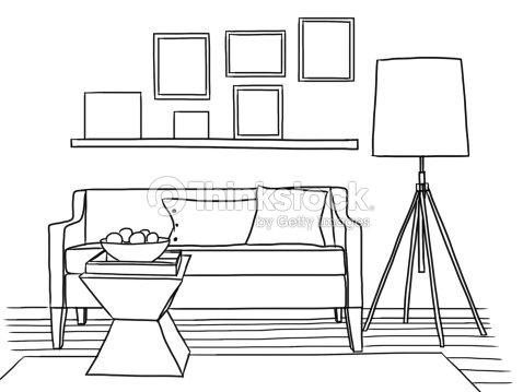 Illustration Hand Drawn Interior Design Of Living Room Stock