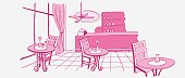 Illustration in pink, cafe or bar with one chair each at three tables, window with pulled back curtain, till on counter, shelves in background, ceiling fan buzzing overhead.