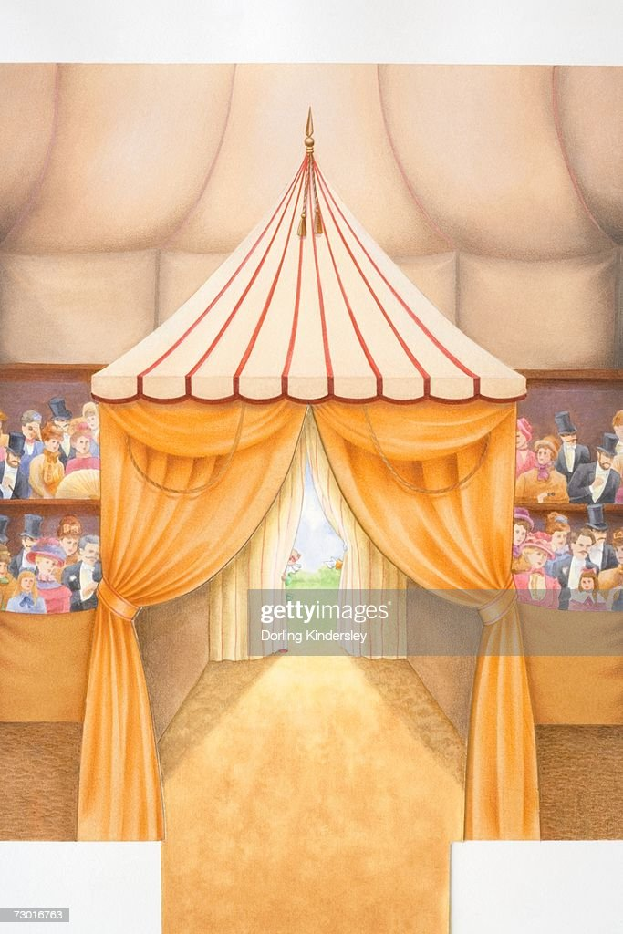 Illustration, interior view of curtained entrance to circus tent, audience sitting on both sides dressed in Victorian fashion, clown standing outside peering in behind curtain. : Stock Illustration