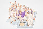 Illustration, Julius Caesar collapsed, wounded, amidst group of Romans brandishing daggers.