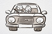 Illustration, man driving car with smiling boy in the back seat, front view.