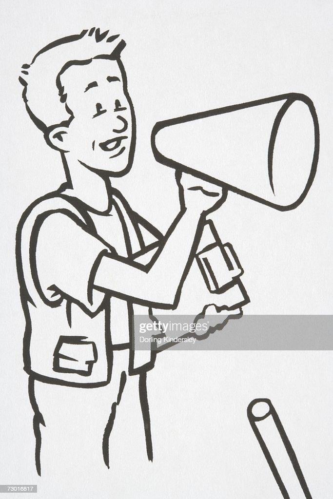 Illustration, man holding clipboard and speaking into loudspeaker, side view. : Stock Illustration