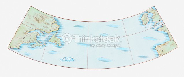 Illustration Map Of The Titanics Journey Starting At Southampton