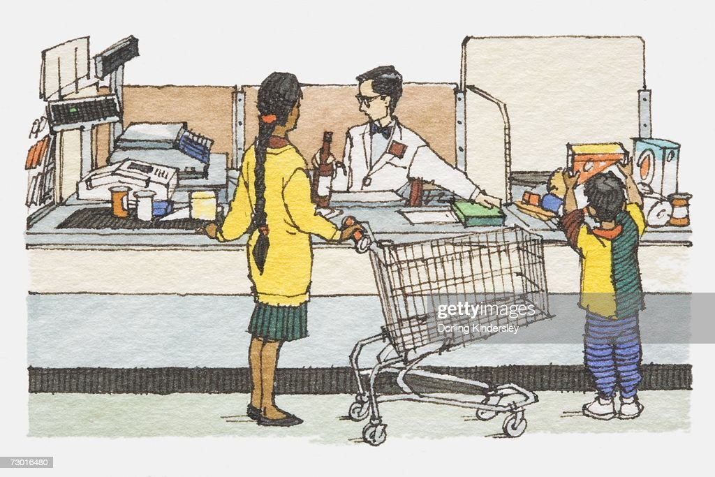 Illustration, mother and son standing at supermarket checkout counter with emptied trolley. : Stock Illustration