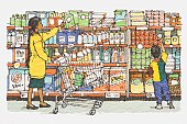 Illustration, mother and son standing in front of supermarket rack containing washing powders, cleaners and canned products.