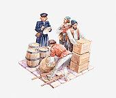 Illustration of 15th century sailors preparing cargo containers