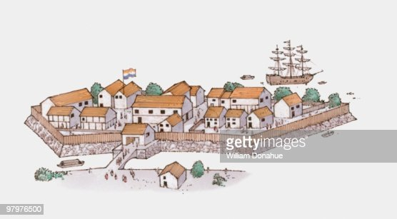 Illustration of 17th century Dutch trading post in Japan : Stock Illustration