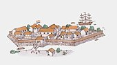 Illustration of 17th century Dutch trading post in Japan