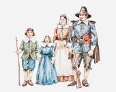 Illustration of 17th century pilgrim family