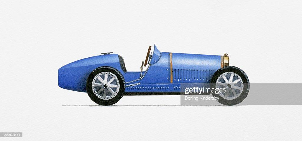 Illustration of 1926 Bugatti Type 35C Grand Prix Racer : Stock Illustration