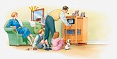 Illustration of 1930s American family and their pet dog preparing to watch television