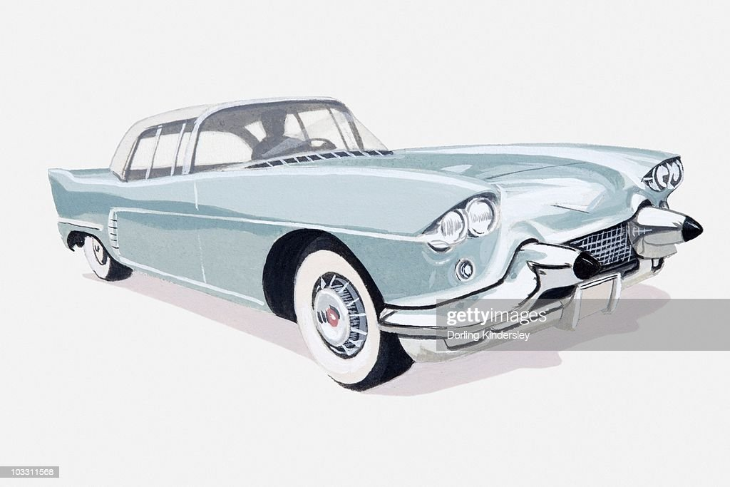 Illustration of 1957 Cadillac with silhouette of driver visible inside : Stock Illustration