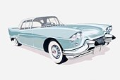 Illustration of 1957 Cadillac with silhouette of driver visible inside