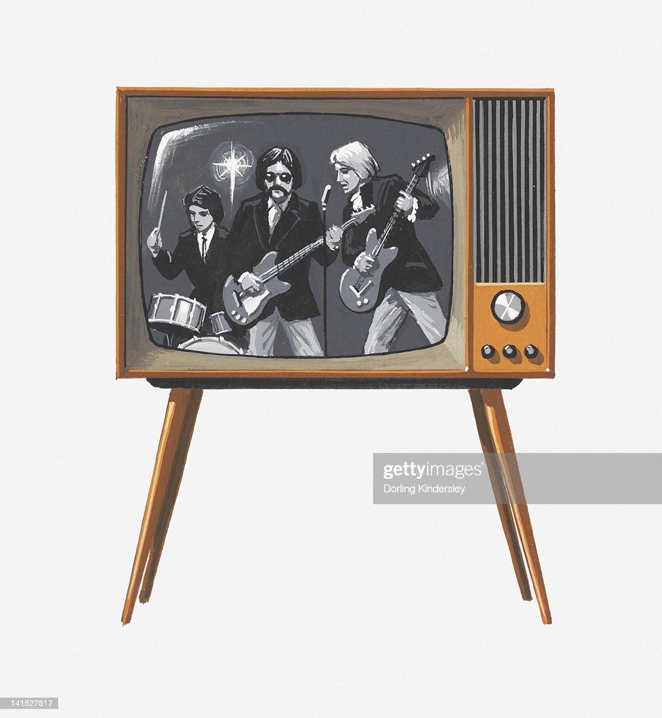 Illustration of 1960s pop band on black and white television : Stock Illustration