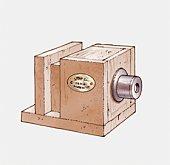 Illustration of 19th century Daguerreotype camera