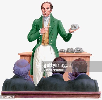 Illustration of 19th century paleontologist Gideon Mantell standing in front of audience, holding and pointing at fossil of Iguanodon tooth : Stock Illustration