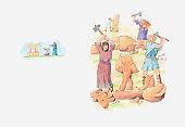 Illustration of a bible scene, 2 Kings 18, King Hezekiah of Judah destroys all idols