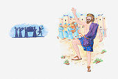Illustration of a bible scene, 2 Samuel 6, David becomes King of Israel, brings the Ark of the Covenant to Jerusalem and celebrates
