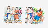 Illustration of a bible scene, Daniel 2, Daniel and Nebuchadnezzar, Daniel interprets the king's dreams