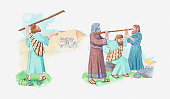 Illustration of a bible scene, Exodus 17, Moses holds his staff up to God, his brother Aaron and Hur help him hold the staff until sunset, Amalekite army in the background