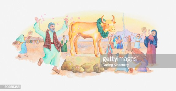 Illustration of a bible scene, Exodus 31-32, Golden Calf, the Israelites worship an idol while Moses is absent on Mount Sinai : Stock-Illustration