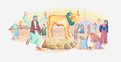 Illustration of a bible scene, Exodus 31-32, Golden Calf, the Israelites worship an idol while Moses is absent on Mount Sinai