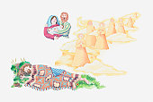 Illustration of a bible scene, Genesis 28, Jacob's ladder, Jacob dreams of angels descending and ascending steps to Heaven