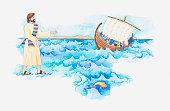 Illustration of a bible scene, Jesus walking on water